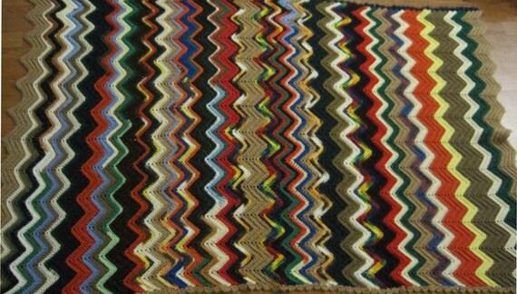 Multi Color Ripple Pattern Crochet Afghan Throw Blanket Free