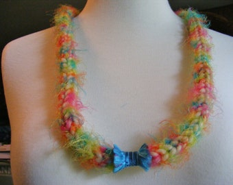 Soft Jewelry Knitted necklace, bright colors with aqua fiber bead focal