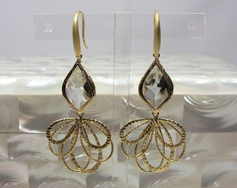 Flamenco Earrings, Gold Earrings, Fashion Jewelry, Dangle Earrings, Drop Earrings, Cubic Zirconia Earrings
