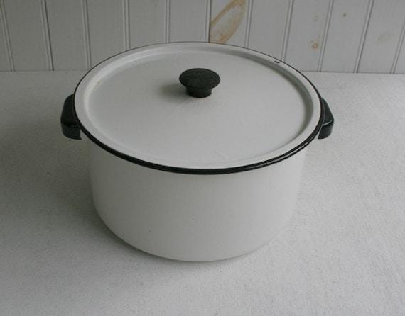 White Vintage Enamel Stock Pot