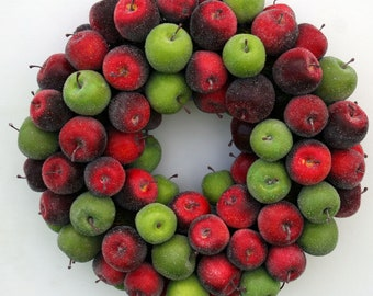 Apple Wreath, Fruit Wreath, Sugared Apple Wreath, Christmas Wreath, Holiday Wreath