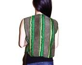 Green Leather Vest, Crochet Vest, Boho vest, Green Jacket, Green, Bohemian, Hippie, OOAK