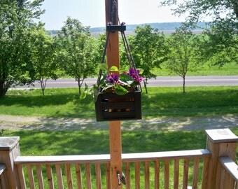 Hanging Flower Pot Planter,Hanging Plant,Iindoor Outdoor Hanging Planter, Wood Hanging Planter, Deck Hanging Planter, Patio Hanging Planter