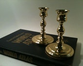 SALE-BALDWIN Brass Candle Holders, One set of TWO Mid century Solid Brass Candlesticks, Modern Brass Candleholders