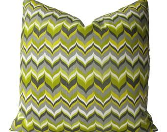 Decorative Designer Bargello Flame, Jonathan Adler, Chevron, Pillow Cover, Green, Chartreuse, 18x18, 20x20, 22x22 or lumbar, Throw Pillow