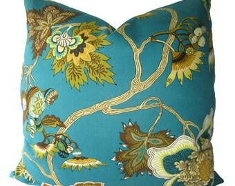Designer, Jacobean Floral Iman Pillow Cover, Turquoise, Teal, 18x18, 20x20, 22x22 or Lumbar, Throw PIllow