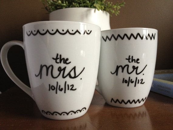 "Personalized Coffee ""Love ""Mugs, Mr. & Mrs."