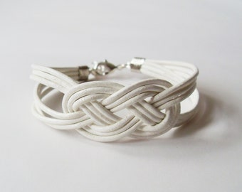 Leather Sailor Knot Bracelet - White Leather Strap Bracelet with Sailor Knot - Bridesmaids Gift Idea