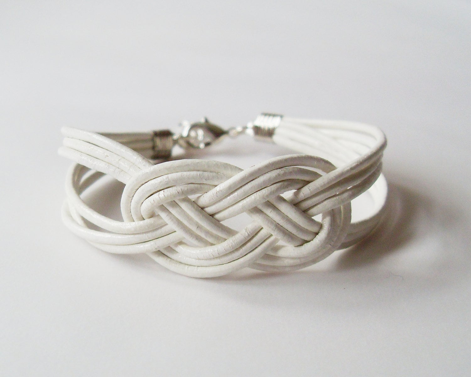 leather sailor knot bracelet white leather by starryday