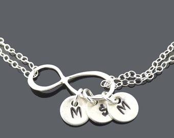Infinity charm bracelet, infinity bracelet, personalized silver bracelet, sterling silver bracelet, birthday, wedding, mother, wife gifts