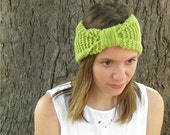 Chartreuse knit headband, knot ear warmer