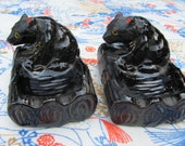 Pair of Kitschy Bear Ashtrays Country Cabin Chippy Rustic
