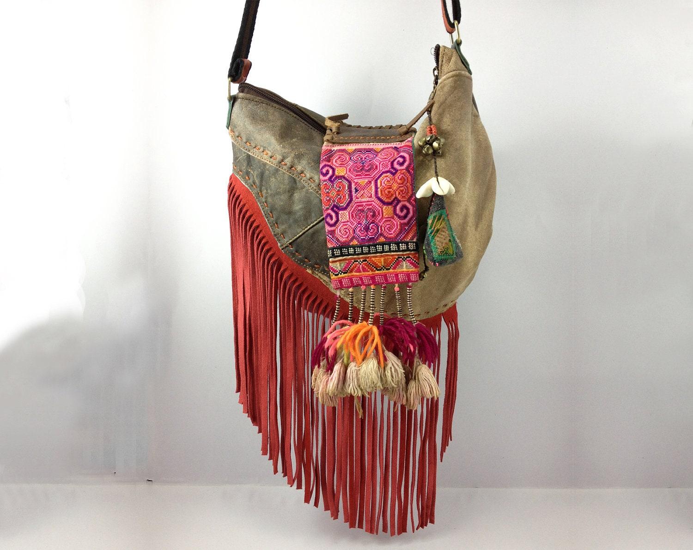 Leather Hippie Fringe Bag Purse Cross Body Bag Tribal