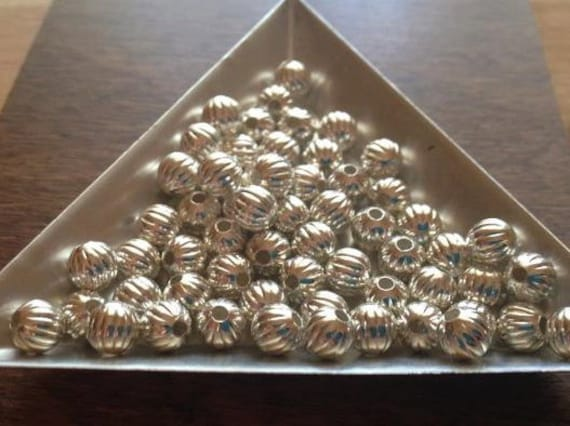 30 Sterling SIlver Corrugated Beads 6mm