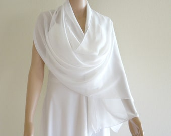 White Long Scarf. White Wrap Scarf. Soft Chiffon Scarf. White Chiffon Shawl.