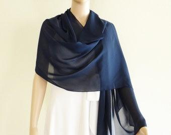Navy Blue Shawl. Navy Blue Wrap Scarf. Long Chiffon scarf. Soft Scarf.