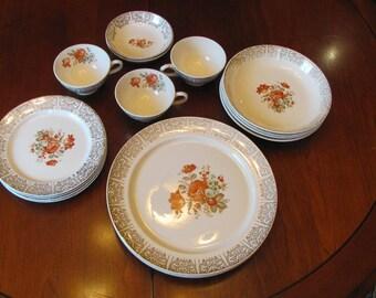 REDUCED 17pc.dinnerware W.S.George, DERWOOD Floral design, 22K Gold Filigree,1940's-50's