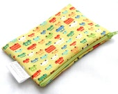 Snack Bag - Reusable - Zippered or Snap - Small - Waterproof - Lunch - Food Storage - Party Favor - Trucks - Cars - Toot Toot Lime