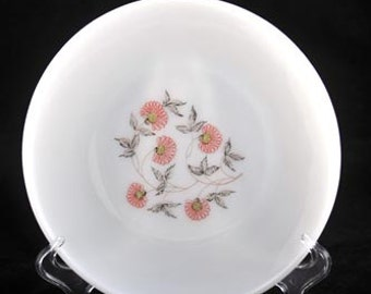 Fleurette Dinner Plate by Fire King with Pink Flowers Vintage 1960s