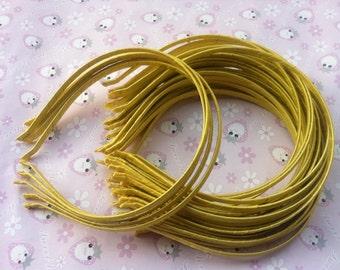 20pcs yellow Satin Headband 5mm Wide