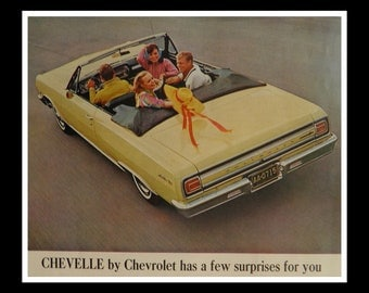 Crazy Kids.  65 Chevy Malibu Supersport Yellow Convertible Ad Post Magazine 13 1/2 x 10 1/2 Ready for Framing.