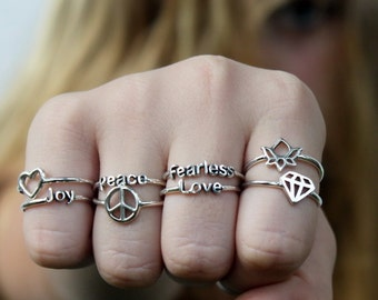 up to 25% QUANTITY DISCOUNT if you buy several Intention rings of your choice, 925 sterling silver rings w Inspirational words and Symbols