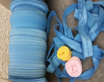 5 yards of foe elastic, blue fold over 5/8 inch for baby headbands
