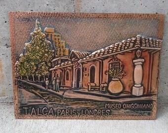 Vintage Wall Hanging Souvenir Talca Paris y Londres Museo O'higginiano Embossed Copper Wall Hanging