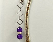 Beaded Bookmark - with Purple Dragon Vein Agates