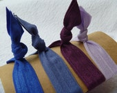 Blue and Purple Set of 4 Handmade Hair Ties - FREE SHIPPING