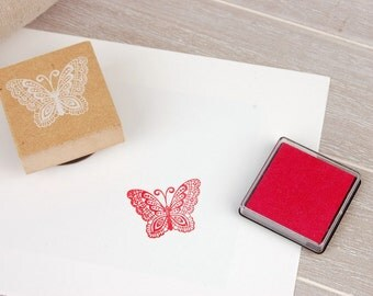 A Vintage Style Wooden Rubber Stamp- Butterfly