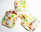 SALE - Reusable Sandwich Wrap Mat and Snack Pouch - School or Travel - Set of 3 - Kitchy Kitchen Fruit Slices