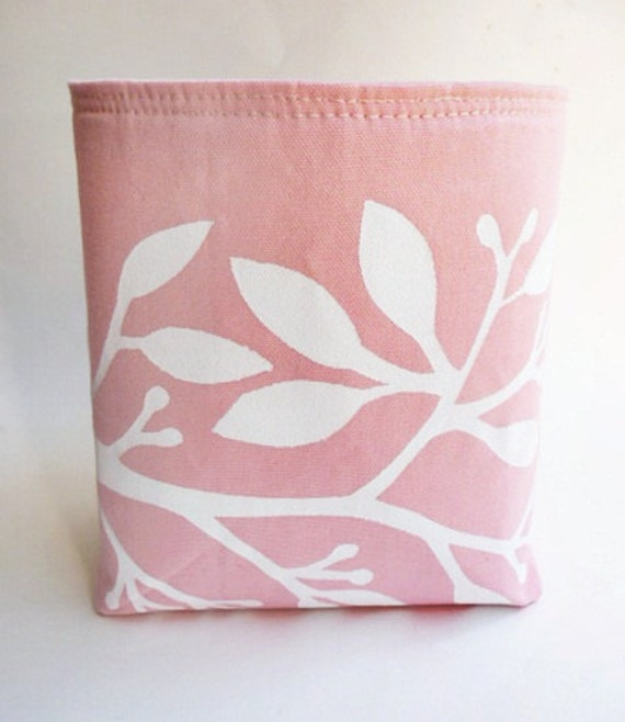 Canvas Storage Basket Hand Printed with White Leaves in Pink - Medium Sized