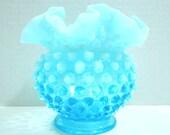 Blue Milk Glass Vase. Fenton Hobnail. Vintage Decor. Mid Century Style. Wedding. Baby Shower.