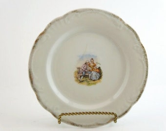 Vintage Austrian Transferware. Dessert Plate with Courtship Scene. Circa 1891-1914. Birthday. Anniversary. French Decor.