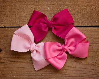 Pink Hair Bow Set - Hot Pink Boutique Hair Bow - Pink Bow Gift Set - Light Pink Basic Bow
