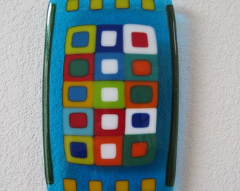 """Happy Together - Fused Glass Art - 5""""x8.5"""""""