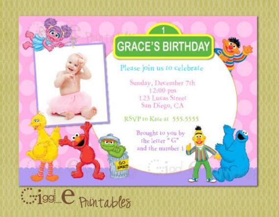 Elmo Sesame Street Birthday Invitation – Sesame Street 1st Birthday Invitations