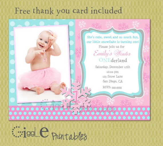 Winter ONEderland Birthday Invitation FREE thank you card