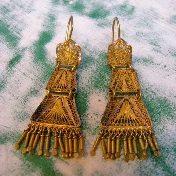 Golden Three Tier Dangle Antique Earrings from Oaxaca, Mexico