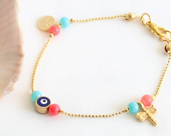 Blue evil eye bracelet, turquoise pink beads, gold chain, tiny bracelet, arabic jewelry, arabic fashion, dragonfly sultan's signature coin