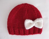 Pattern knit preemie prem newborn hat bow baby beanie 8ply DK double knit light worsted girl red pdf embellish applique stockinette