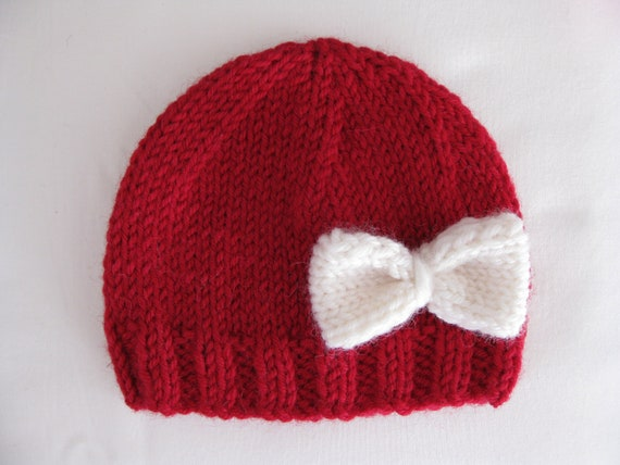 Knitting Pattern Baby Hat Premature : Pattern knit preemie newborn hat bow baby beanie 8ply DK