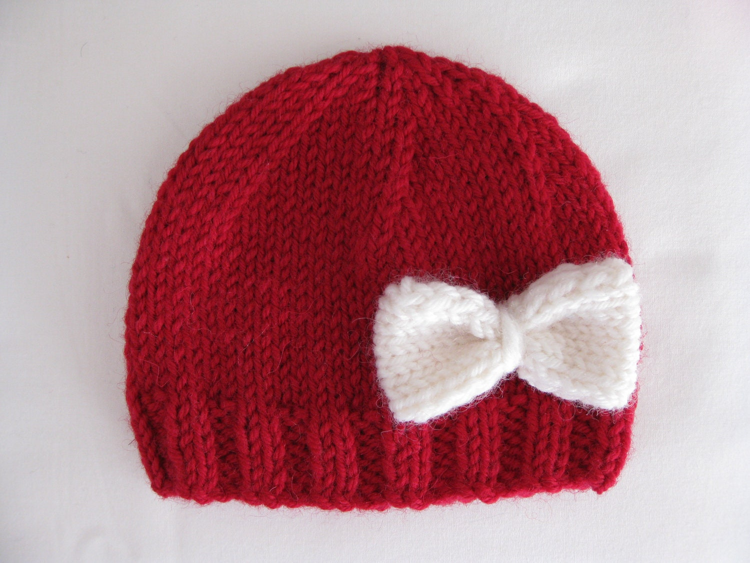 Newborn Beanie Knitting Pattern : Pattern knit preemie newborn hat bow baby beanie 8ply DK double knit light wo...