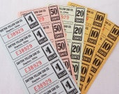 """25 Colorful Vintage Coupons - 5 Colorful Sheets of Taxi Cab Tickets - """"Yellow Cab"""" in Dayton, Ohio"""