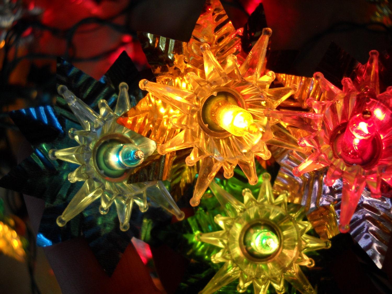 vintage multi colored christmas tree star lights with foil. Black Bedroom Furniture Sets. Home Design Ideas