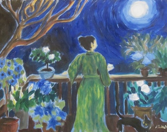 Woman and cat in the patio garden, original fauvist abstract impressionist oil painting by Rivkah Singh