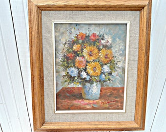 Vintage Flower Oil Painting - hand painted original oil artwork on canvas framed in oak