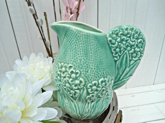 Reserved for Michelle - Vintage Royal Art Pottery Longton England - Vintage Art Deco green pitcher vase