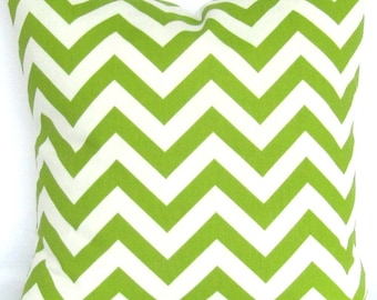 Green Chevron Pillow Cover Chartreuse zigzag Decorative 28x28 inch Euro  modern geometric same fabric front and back lime